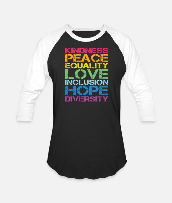 Human T-Shirts - Peace Love Inclusion Equality Diversity Human Righ - Unisex Baseball T-Shirt black/white