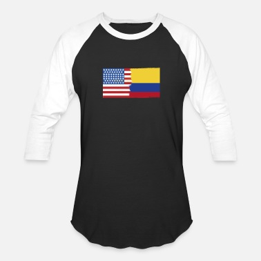 Colombian Roots Half Colombia Half USA Flags - Baseball T-Shirt