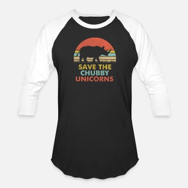 Rhino Save The Chubby Unicorns Rhino Vintage Retro Color - Baseball T-Shirt