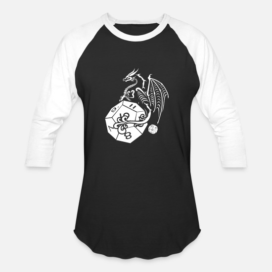 Dragon Head T-Shirts - RPG Dragon Dice - Unisex Baseball T-Shirt black/white