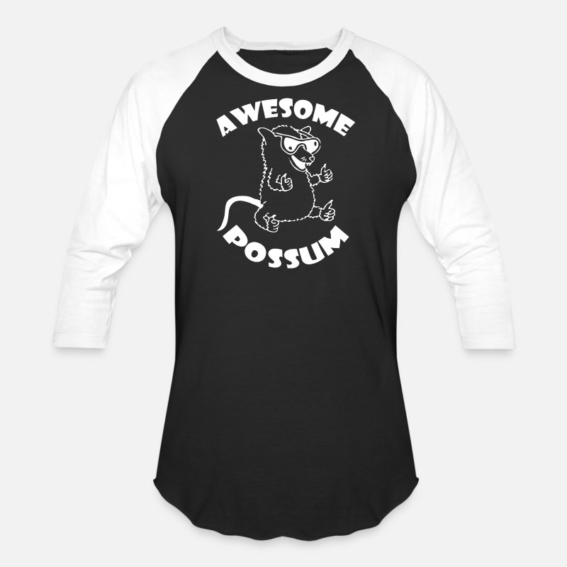 Possum T-Shirts - Awesome Possum - Unisex Baseball T-Shirt black/white