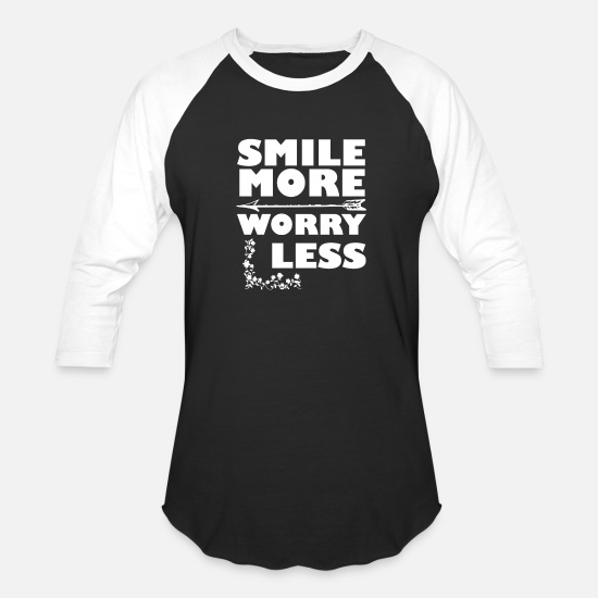 Worry T-Shirts - smile more worry less - Unisex Baseball T-Shirt black/white