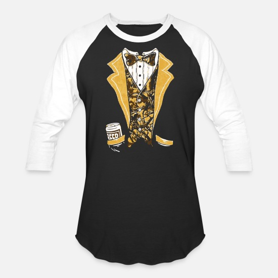 Tuxedo T-Shirts - Camo Tuxedo with Bowtie and Beer Can - Unisex Baseball T-Shirt black/white