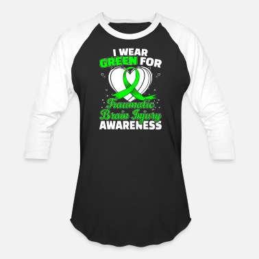 Traumatic Brain Injury TBI Traumatic Brain Injury Awareness Green Ribbon - Baseball T-Shirt
