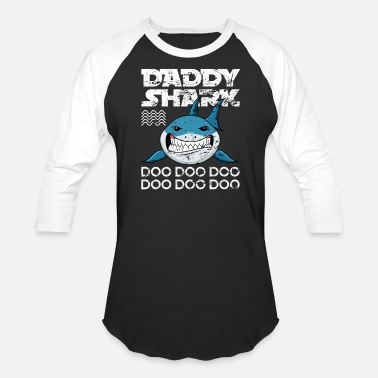 Daddy Retro Shark Gift - Unisex Baseball T-Shirt