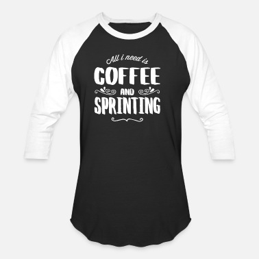 Sprinting Sprinting & Coffee - Baseball T-Shirt