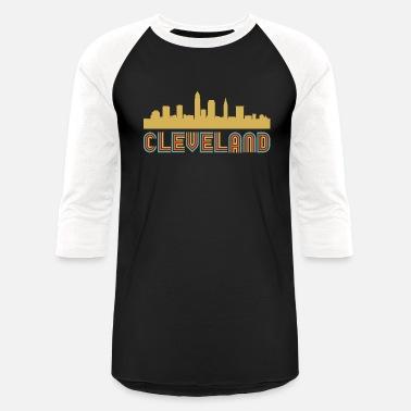 ce506eebc679 Vintage Style Cleveland Ohio Skyline - Unisex Baseball T-Shirt