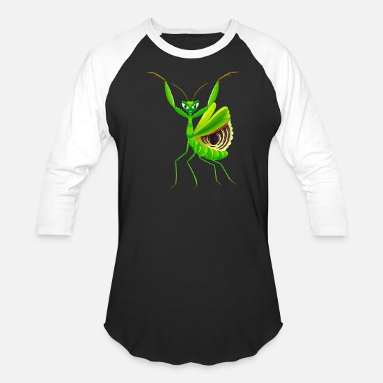 Greenman T-Shirts - Green Mantis - Unisex Baseball T-Shirt black/white