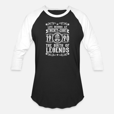 28th Birthday Gift Ideas 1990 28 28th Birthday years Legends gift - Baseball T-Shirt