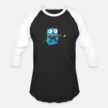 Golang Gopher Golang with Gun - Baseball T-Shirt
