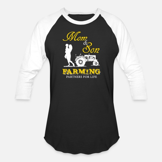 Mom T-Shirts - Farming - mom & son farming partners for life - Unisex Baseball T-Shirt black/white