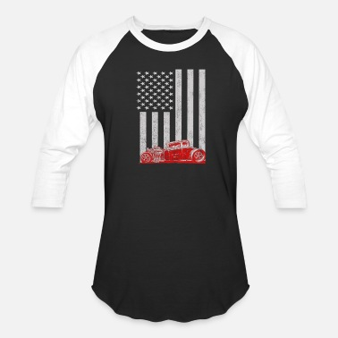 Hot Rod Car Hot Rods car - American flag - Unisex Baseball T-Shirt