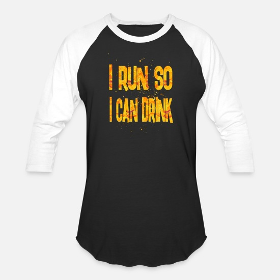 College T-Shirts - i run so i can drink 3 - Unisex Baseball T-Shirt black/white