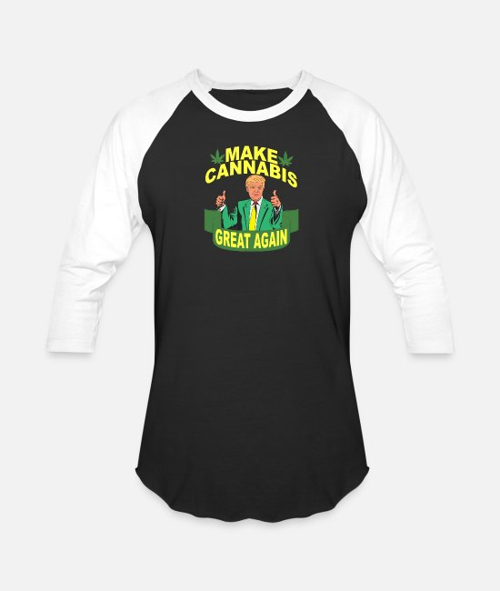 Cannabis T-Shirts - donald_trump_make_weed_cannabis_marihuana - Unisex Baseball T-Shirt black/white