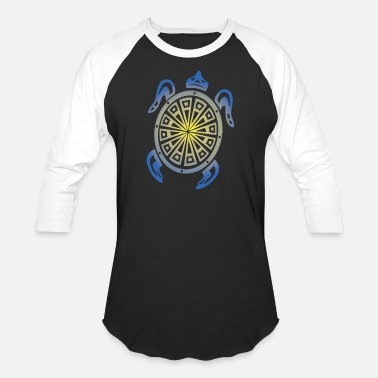 Tribal Sea Turtle - Unisex Baseball T-Shirt