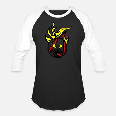 Baseball Cartoon baseball cartoon face fire flame languag - Unisex Baseball T-Shirt