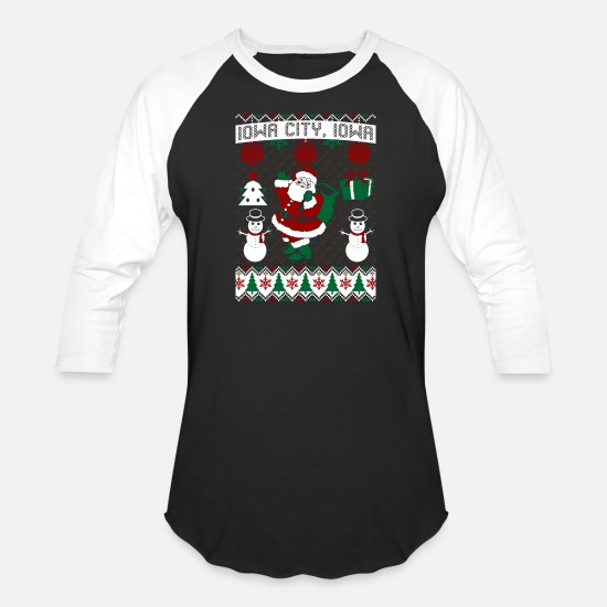 State T-Shirts - Christmas Ugly Sweater Iowa City Iowa - Unisex Baseball T-Shirt black/white