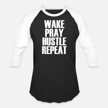 Detroit Parties Harder Hustle - Wake Pray Hustle Repeat - Popular Motiv - Baseball T-Shirt