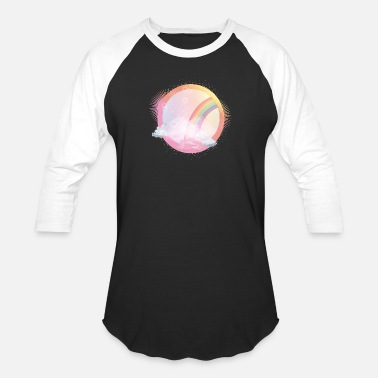 Bloom pink sky with rainbow and delicate clouds - Unisex Baseball T-Shirt