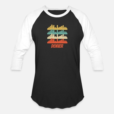 Denver Retro Denver CO Skyline Pop Art - Baseball T-Shirt