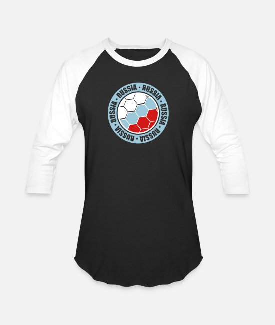 Sticker T-Shirts - cool russia russia circle round sticker stamp text - Unisex Baseball T-Shirt black/white