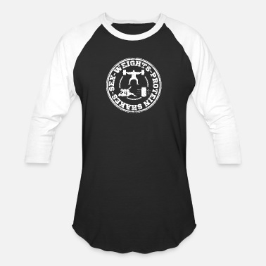 Protein sex_weights_protein_shakes - Unisex Baseball T-Shirt