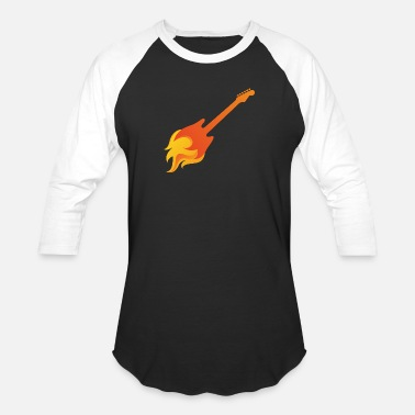 Flaming Guitar Rock Guitar in Flames - Baseball T-Shirt