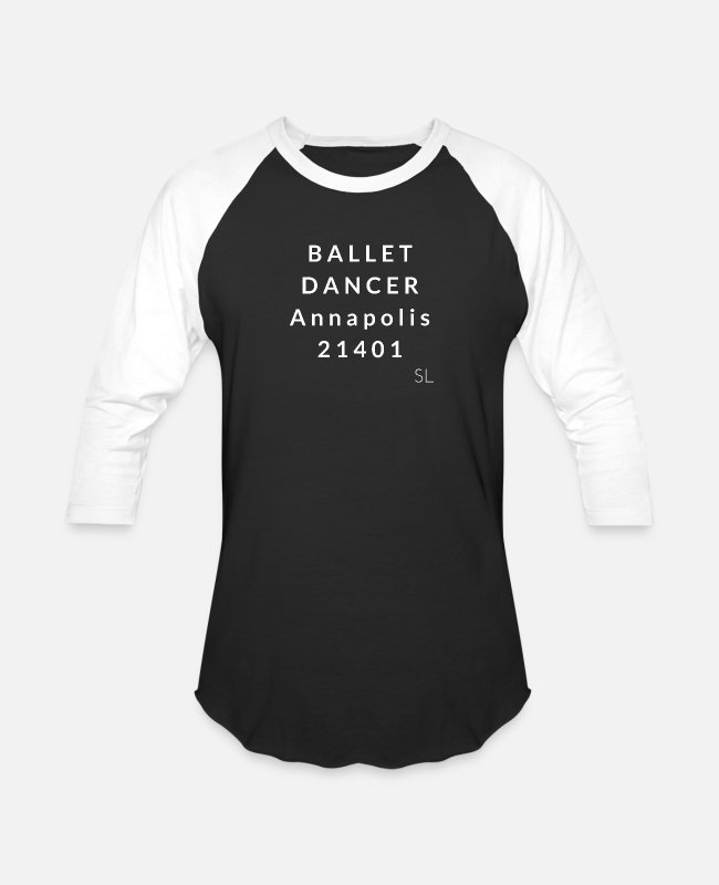 Ballet Dancer T-Shirts - Annapolis 21401 Ballet - Unisex Baseball T-Shirt black/white