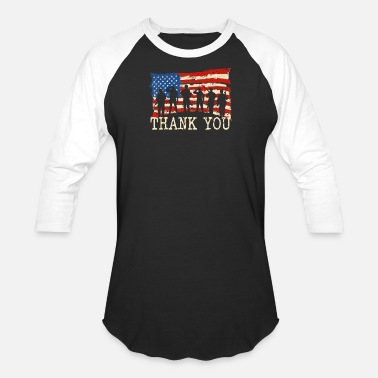 American Flag Thank you Veterans Proud Veteran - Unisex Baseball T-Shirt