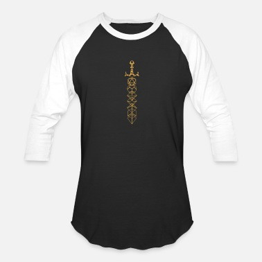 Dnd Gold Polyhedral Dice Set Sword Tabletop RPG - Unisex Baseball T-Shirt