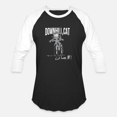 Mtb Baby Downhill MTB Cat Funny Cat Lives Countdown Gift - Unisex Baseball T-Shirt
