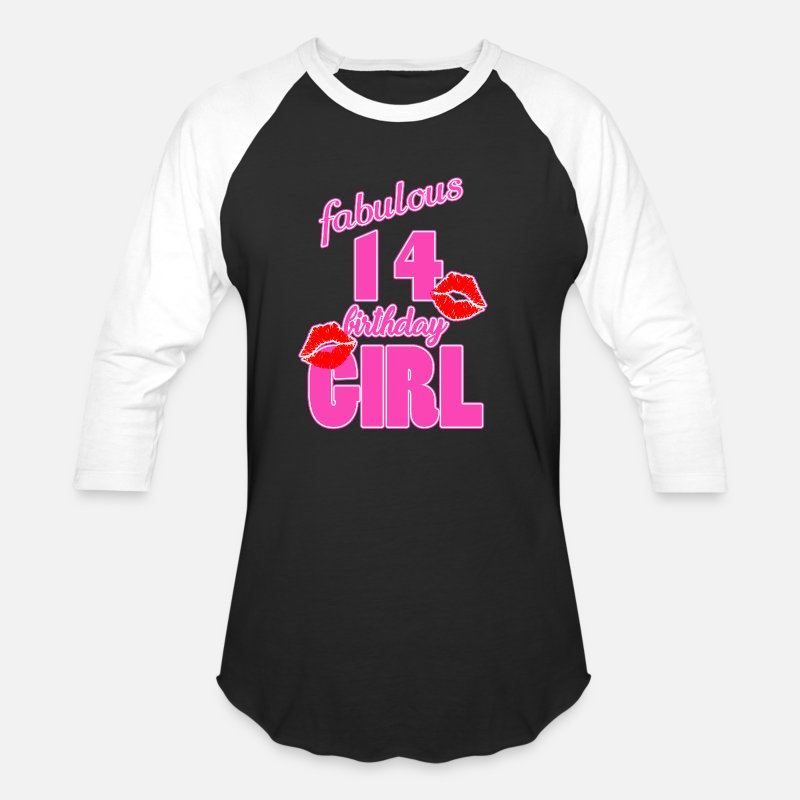 14th Birthday T-Shirts - fabulous 14 birthday girl 14th birthday pink Kiss - Unisex Baseball T-Shirt black/white