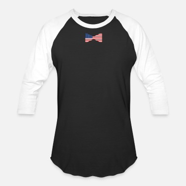 4 Th Bow Tie for the 4 th of July + USA Flag - Unisex Baseball T-Shirt