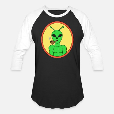 Smoking Pipes Pipe Smoking TShirt For Pipe Smoker Smoking Alien - Baseball T-Shirt