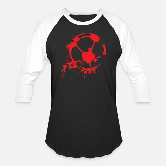 Soccer T-Shirts - Soccer Football Player Ball I love Soccer Fussball - Unisex Baseball T-Shirt black/white