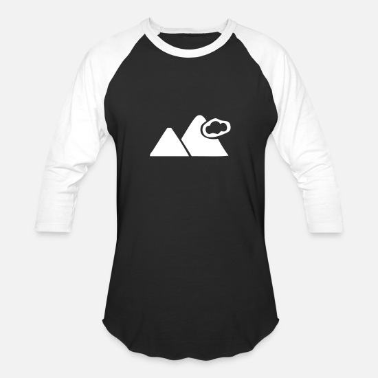Gift Idea T-Shirts - Cloudy Mountains - Unisex Baseball T-Shirt black/white