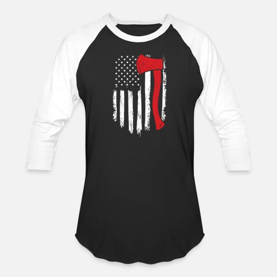 Distressed T-Shirts - Lumberjack Distressed American Flag - Unisex Baseball T-Shirt black/white