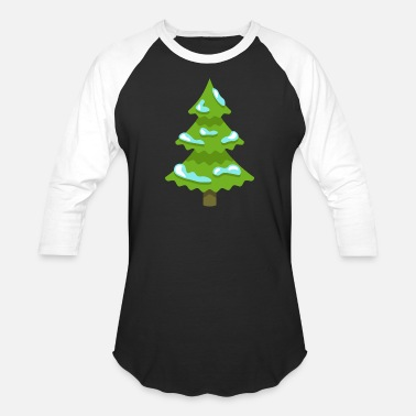 Spruce Christmas tree fun spruce New Year vector image - Unisex Baseball T-Shirt