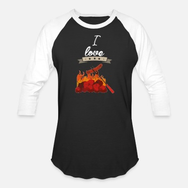 I love BBQ barbeque gift - Unisex Baseball T-Shirt