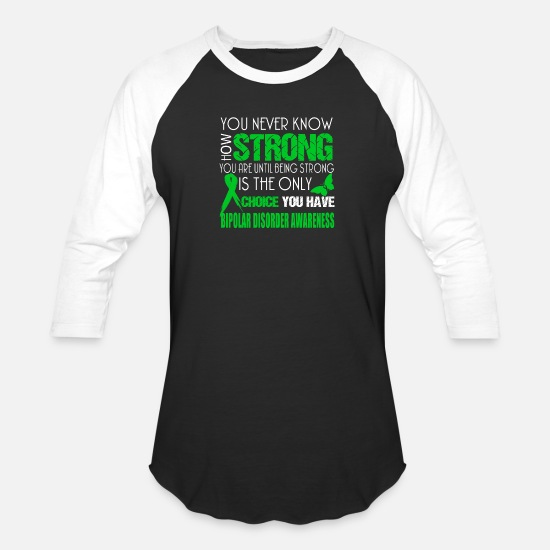 Depression T-Shirts - Bipolar disorder awareness - Being strong Tshirt - Unisex Baseball T-Shirt black/white