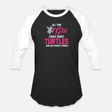 Tortuga Funny Turtle - This Girl Cares About Turtles T Shirt - Baseball T-Shirt