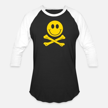 Smiley Couples Smiley Pirate Skull and Crossbones - Baseball T-Shirt