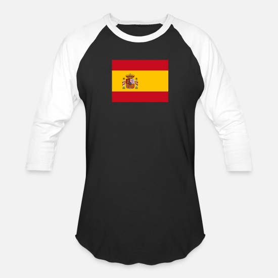 Flag T-Shirts - Flag of Spain (es) - Unisex Baseball T-Shirt black/white