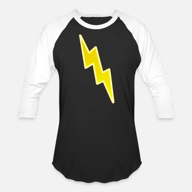 Lightning Bolt Zap - Yellow Lightning Bolt - Baseball T-Shirt
