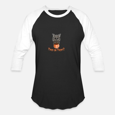 Pussy Tricks Trick-or-treat cat pussy Halloween gift - Baseball T-Shirt