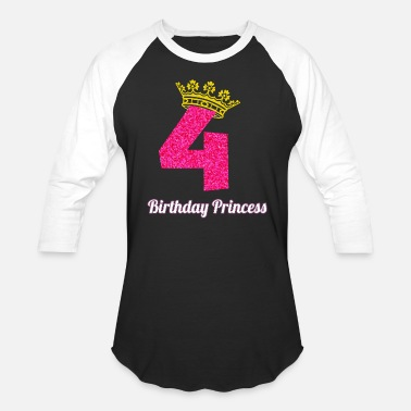 4th Birthday 4th Birthday graphic for Girl Princess Crown Pink - Unisex Baseball T-Shirt