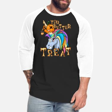 Unicorn Pumpkin T-Shirt Halloween - Unisex Baseball T-Shirt