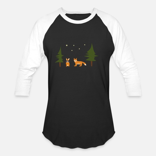Forest Animal T-Shirts - Fox and Rabbit say good night - Unisex Baseball T-Shirt black/white