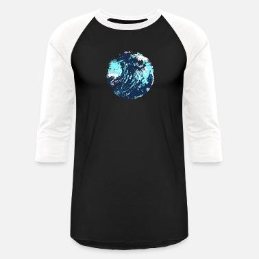 32e2cb90 Painted abstract artistic maverick wave ocean art - Unisex Baseball T-Shirt