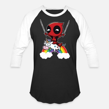 Deadpool And Unicorn Deadpool Riding Unicorn - Baseball T-Shirt